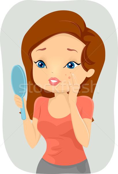 Ragazza brufolo illustrazione guancia donna bellezza Foto d'archivio © lenm