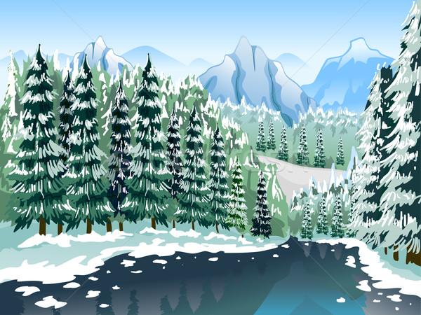 Tűlevelű erdő téli tájkép illusztráció fedett rétegek Stock fotó © lenm