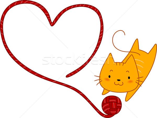 Gato jugando hilados ilustración pelota corazón Foto stock © lenm