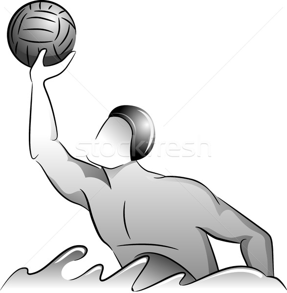 Man Sports Water Polo Player Grayscale Stock photo © lenm