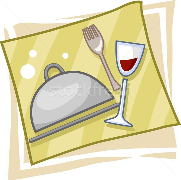 Vendéglátás ikon illusztráció ikonok üzlet étel Stock fotó © lenm