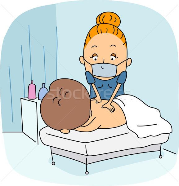 Masseurin Illustration Arbeit spa weiblichen Kunden Stock foto © lenm