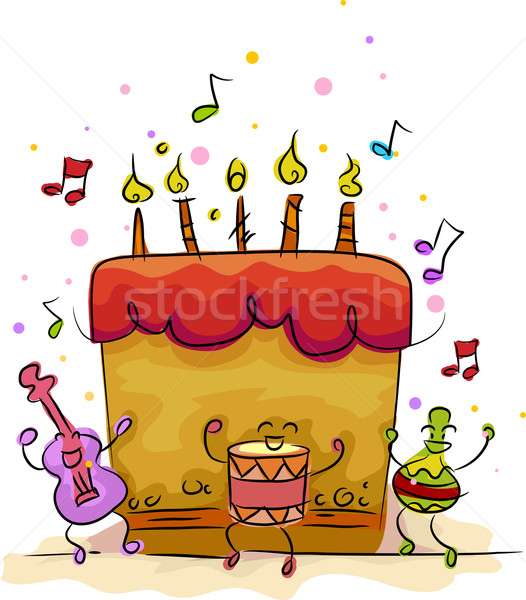 Gâteau d'anniversaire illustration musical guitare anniversaire dessert Photo stock © lenm