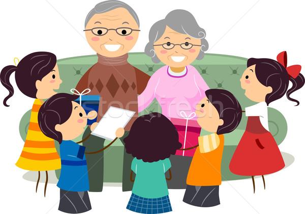 дедушка и бабушка день иллюстрация дети подарки Сток-фото © lenm