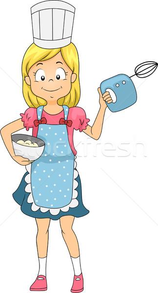 Keverő lány illusztráció gyerek tart szakács Stock fotó © lenm