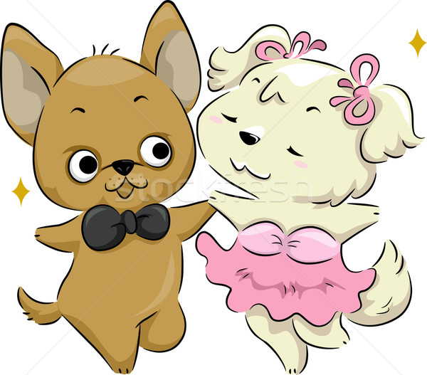 Cãozinho dançar ilustração par cães dança Foto stock © lenm