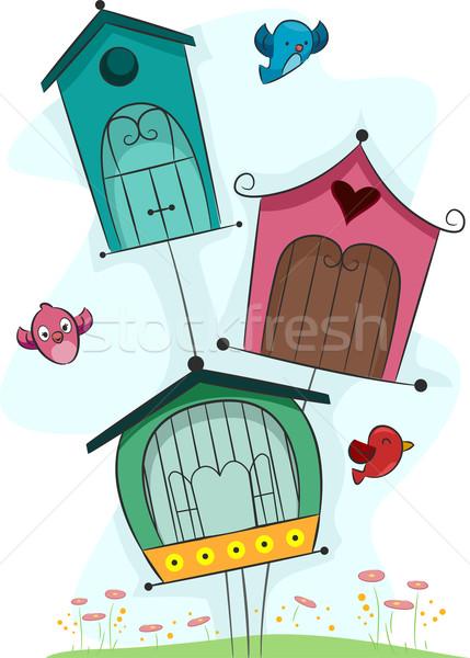 Aves ilustración aves casa verano Foto stock © lenm