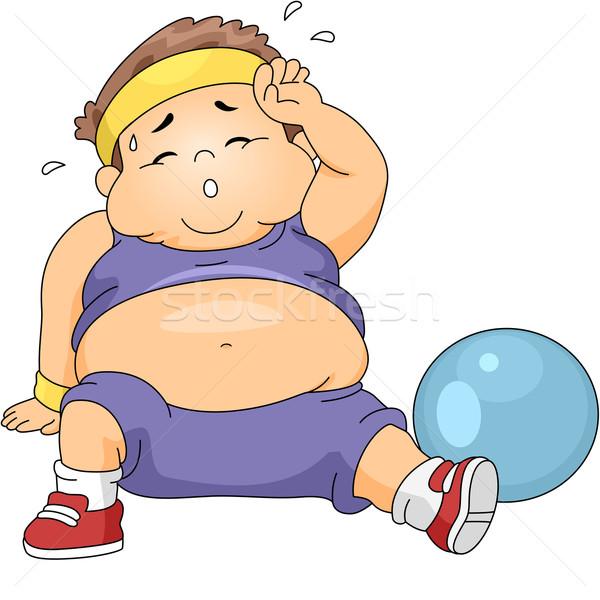 избыточный вес мальчика иллюстрация ребенка фитнес Сток-фото © lenm