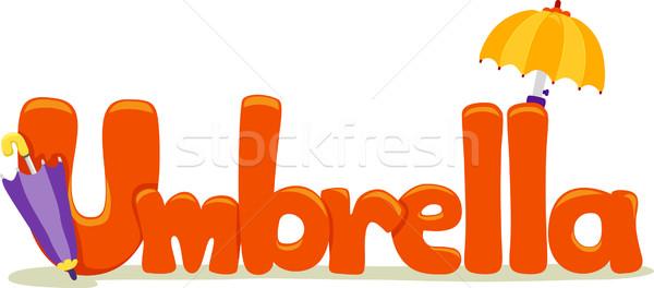 Paraguas texto ilustración palabra verano carta Foto stock © lenm