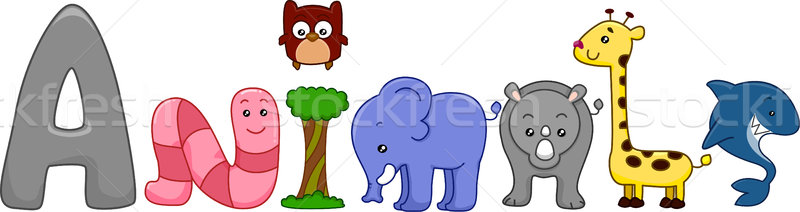 Tiere Text Illustration unterschiedlich Hai Lernen Stock foto © lenm