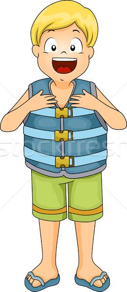 Vita gilet ragazzo illustrazione indossare Ocean Foto d'archivio © lenm