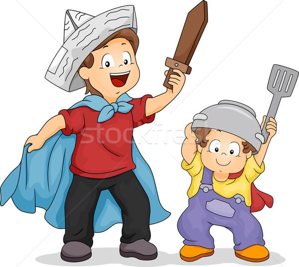 Fiútestvérek játék kardok illusztráció fiú játszik Stock fotó © lenm