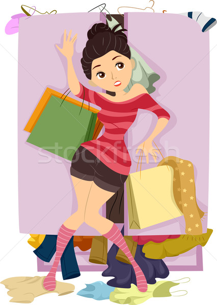 Adolescente placard illustration porte femme Photo stock © lenm