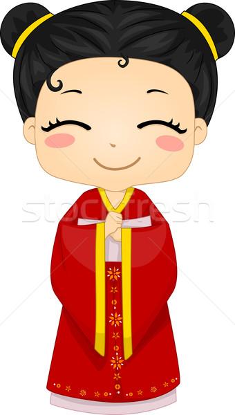 Little Chinese Girl Wearing National Costume Cheongsam Stock photo © lenm