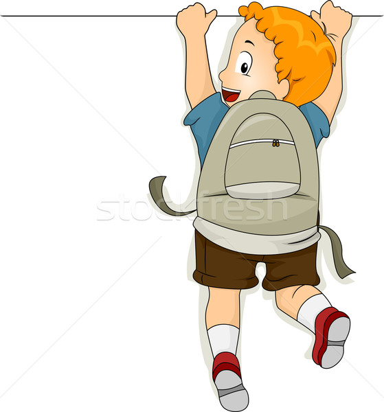 Student Boy Hanging on a Blank Board Stock photo © lenm