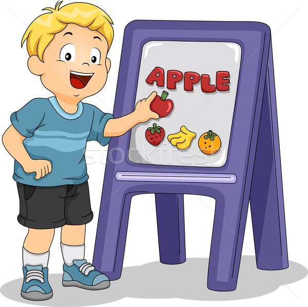 Stok fotoğraf: çocuk · erkek · elma · tahta · örnek · okul
