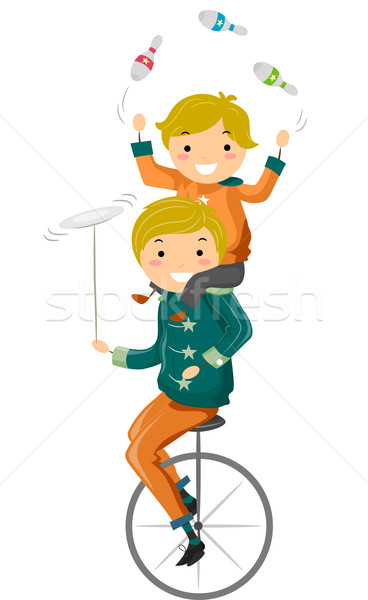Filho pai malabarismo ilustração equitação boliche Foto stock © lenm