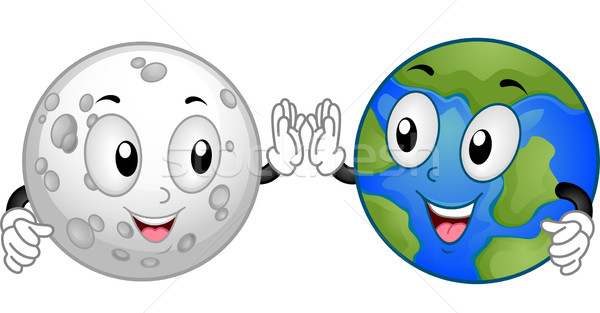 moon and earth mascots vector illustration lenm 4310671 rh stockfresh com Outer Space Clip Art Moon and Earth Mixed Media