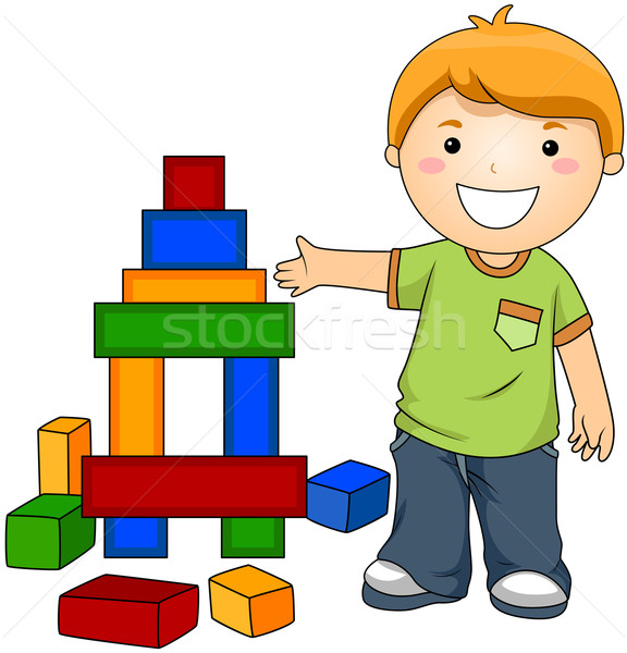 Boy with Toy Blocks Stock photo © lenm