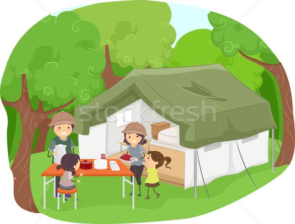 Safári tenda ilustração família piquenique Foto stock © lenm