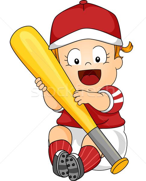 Baseball baby ilustracja kobiet kij baseballowy Zdjęcia stock © lenm