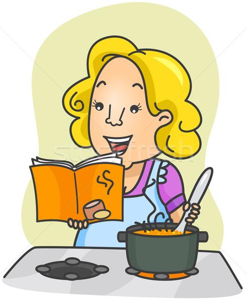 Książka kucharska ilustracja kobieta gotowania żywności instrukcje Zdjęcia stock © lenm