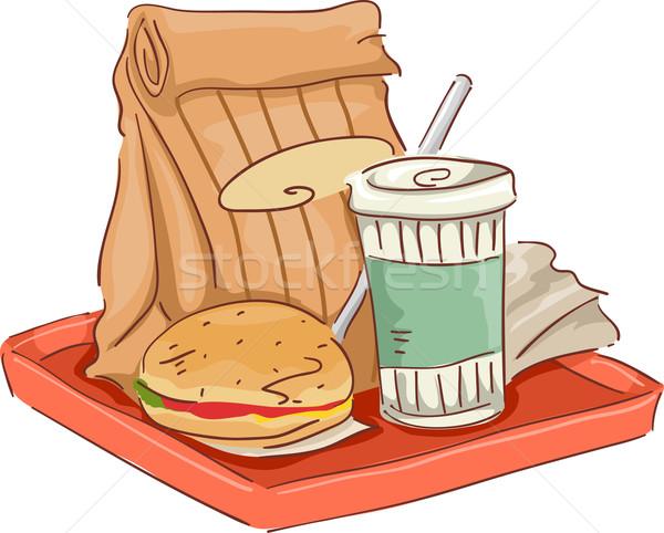 быстрого питания лоток иллюстрация пить гамбургер Сток-фото © lenm