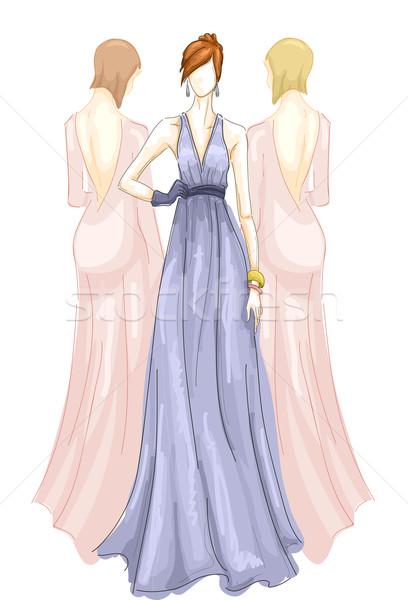 Girls Fashion Long Gown Stock photo © lenm