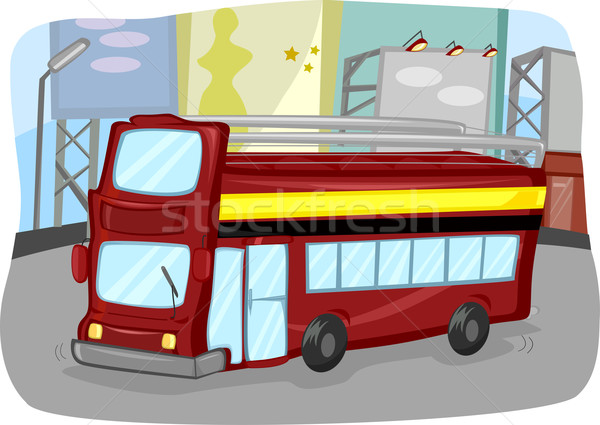 Сток-фото: удвоится · автобус · иллюстрация · открытых · Top · путешествия
