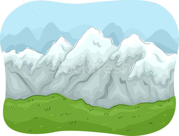 Сток-фото: горные · живописный · иллюстрация · покрытый · снега