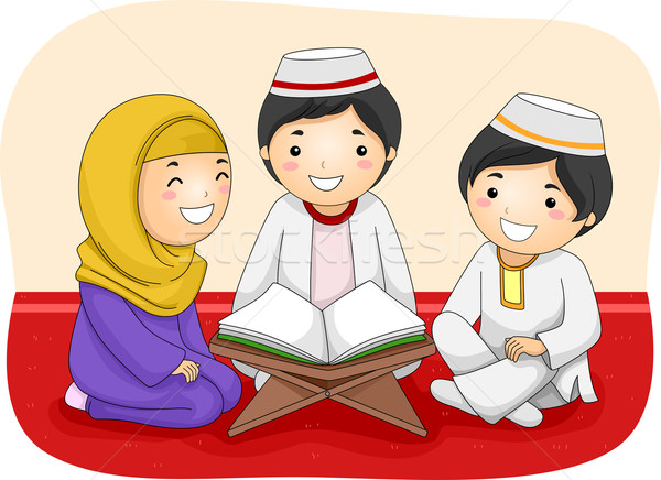 Kids Muslim Religious Study Stock photo © lenm
