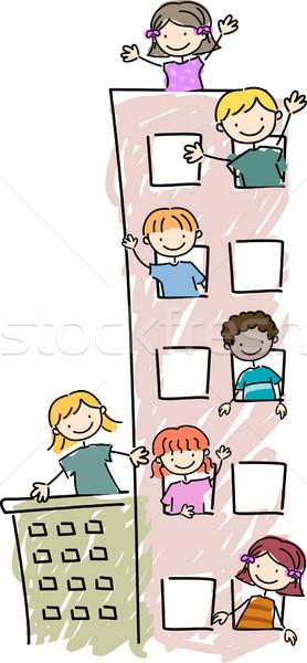 Stock fotó: Lakás · gyerekek · illusztráció · ki · lány · gyerekek