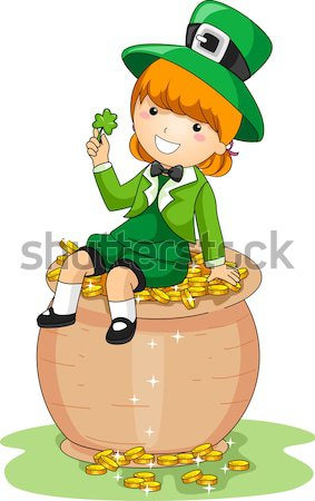 Girl Sitting on a Pot of Gold Stock photo © lenm