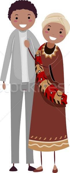 African Illustration stehen Seite Frau Stock foto © lenm