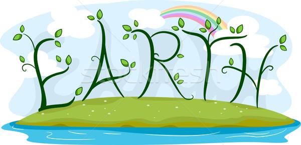 Tierra vides ilustración palabra naturaleza arco iris Foto stock © lenm