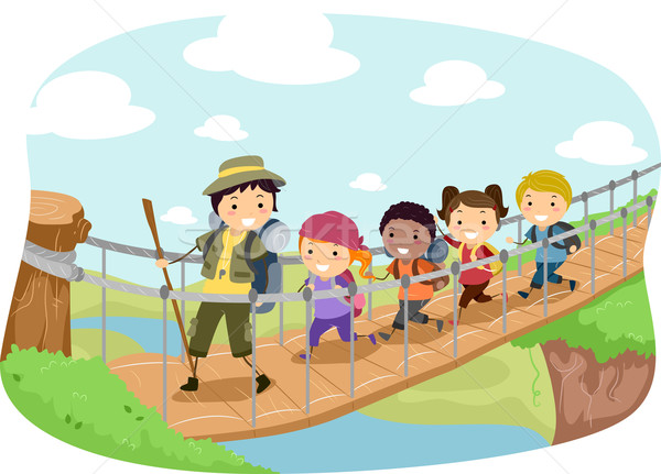 подвесной моста иллюстрация женщину дети ребенка Сток-фото © lenm