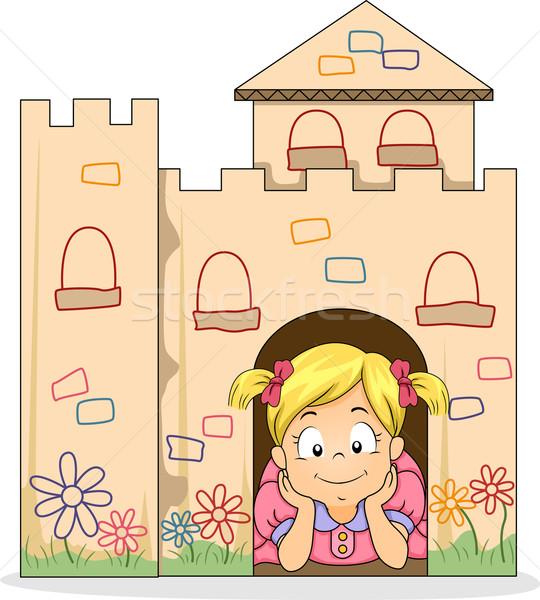 Little Kid Girl in a Cardboard Castle Stock photo © lenm