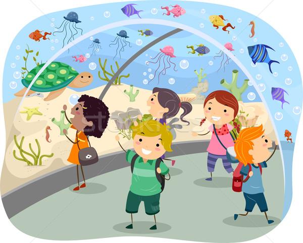 Podróży akwarium ilustracja podniecony dzieci dziewczyna Zdjęcia stock © lenm