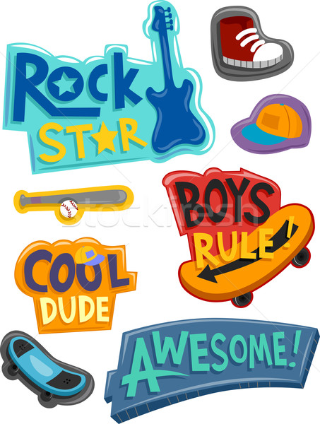 Stickers for Boys Stock photo © lenm