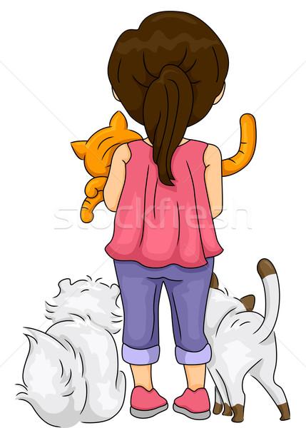 Stock photo: Rearview Cat Lover Girl