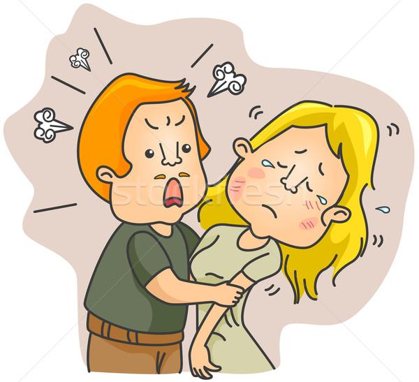 家庭内暴力 女性 漫画 貧しい クリップ ストックフォト © lenm