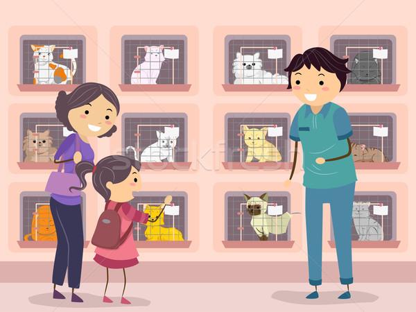 Kat onderdak bezoeken illustratie familie kind Stockfoto © lenm