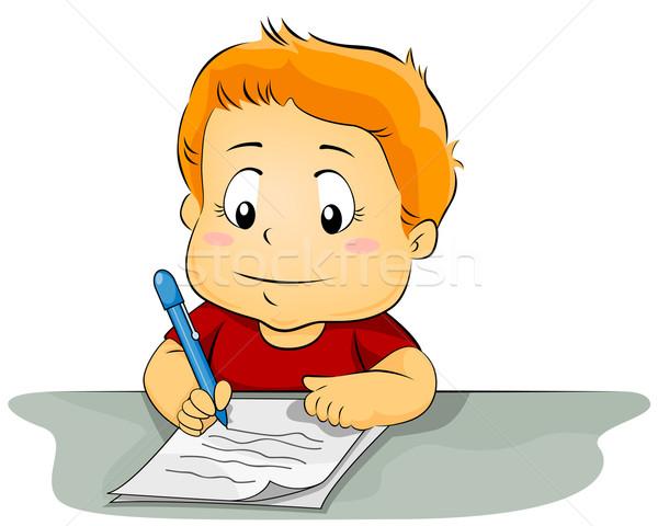 Nino escrito papel ilustración pieza educación Foto stock © lenm