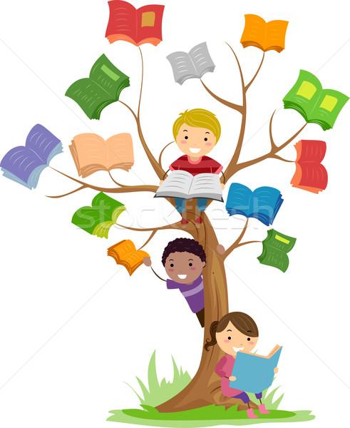 Stickman Kids Book Tree Read Stock photo © lenm