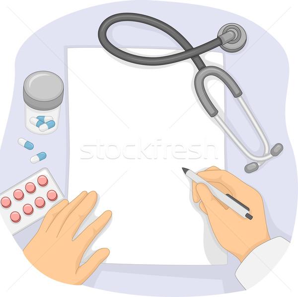 Manos prescripción ilustración médico escrito notas Foto stock © lenm