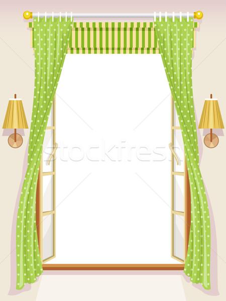 Janela romano ilustração abrir fundo interior Foto stock © lenm