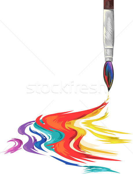 Pinceau Rainbow encre illustration brosse Photo stock © lenm