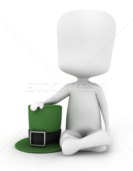 Man Holding a Leprechaun's Hat Stock photo © lenm