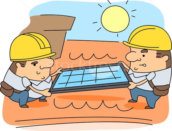Solar Panel Installer Stock photo © lenm