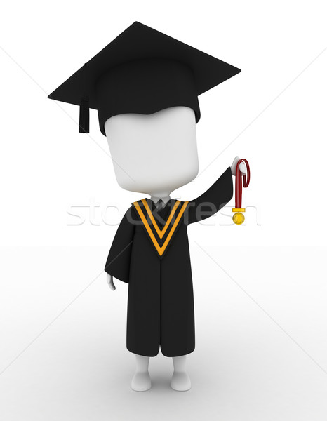 Graduate Holding His Medal Up High Stock photo © lenm